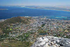 Downtown, Robben Island and Signal Hill view from  Stock Photos
