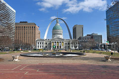 Downtown Saint Louis With Old Courthouse and Arch Royalty Free Stock Photography