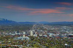 Downtown Salt Lake City sunset Stock Photo