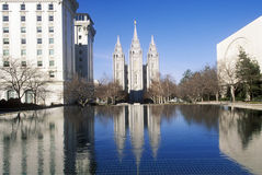 Downtown Salt Lake city with Temple Square, home of Mormon Tabernacle Choir during 2002 Winter Olympics, UT Stock Image