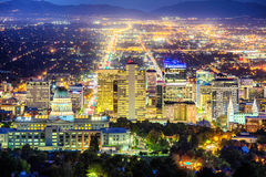 Downtown Salt Lake City. View of the downtown of Salt Lake City skyline at night, Utah, USA stock photos