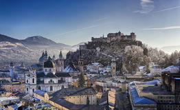 The downtown of Salzburg. Viewed from the Monchsberg HDR image stock image