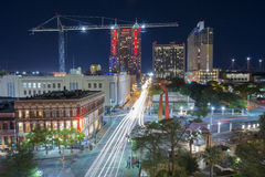 Downtown San Antonio, TX At Night Stock Photography