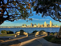 Downtown San Diego from Bayview Park in Coronado, California, USA Royalty Free Stock Images