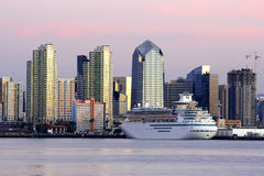 Downtown San Diego,Ca. Downtown of San Diego,CA skyline. Ship royalty free stock images