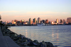 Downtown San Diego,Ca. Downtown of San Diego,CA skyline. Ship stock photography