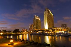 Downtown San Diego, California USA at dawn. San Diego California skyline at night royalty free stock photos