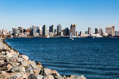 Downtown San Diego City Skyline and Bay. As seen from Harbor Island stock photo