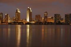 Downtown, San Diego, Dusk. The view at downtown San Diego at dusk from Coronado island marina Stock Photo