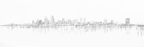 Downtown San Diego Lined royalty free stock images