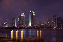 Downtown San Diego at Night. View of the city from Coronado Ferry Landing after fire works on the bay Royalty Free Stock Images
