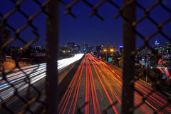 Downtown San Diego Skyline at dusk from Interstate 5 Royalty Free Stock Images