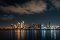 The downtown San Diego skyline at night from Coronado, California royalty free stock image