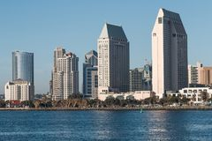Downtown San Diego Skyline and Seaport Village Seen From Coronado Island stock images