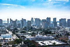 Downtown San Diego view from above, California. Panoramic view of downtown San Diego from above, California royalty free stock images