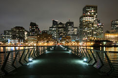 Downtown San Francisco. From the end of Pier 14 at night Royalty Free Stock Image