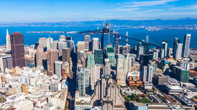 Downtown San Francisco. Aerial view of San Francisco downtown and bay Royalty Free Stock Photography