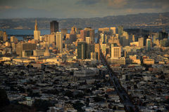 Downtown San Francisco Basks in the Setting Sun Royalty Free Stock Images
