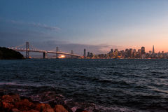 Downtown San Francisco and Bay Bridge at dusk Royalty Free Stock Image