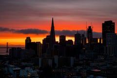Downtown San Francisco. Beautiful silhouette view of business center in downtown San Francisco in USA at dusk Royalty Free Stock Photos