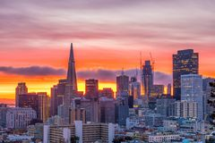 Downtown San Francisco. Beautiful view of business center in downtown San Francisco in USA at dusk Royalty Free Stock Images