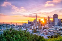 Downtown San Francisco. Beautiful view of business center in downtown San Francisco in USA at dusk Stock Photography