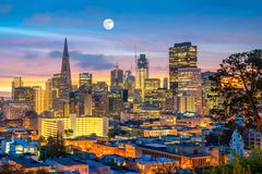 Downtown San Francisco. Beautiful view of business center in downtown San Francisco in USA at dusk Royalty Free Stock Photography