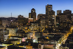 Downtown San Francisco. San Francisco, California, USA - January, 13, 2013:  Editorial dusk view of Chinatown and Nob Hill in downtown San Francisco Stock Image