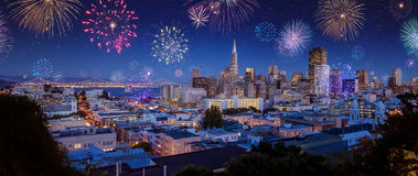 Downtown San Francisco city scape with fireworks on New Years Stock Image