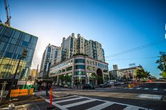 Downtown san francisco city streets at sunset. Downtown san francisco city streets at  sunset Royalty Free Stock Photo