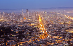 Downtown San Francisco at Dusk. As the city lights come up Royalty Free Stock Photo