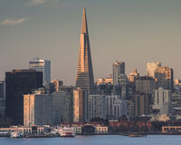 Downtown San Francisco in Early Morning Light 6. Downtown San Francisco seen at dawn with the buildings and windows reflecting sunrise light royalty free stock images