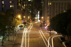 Downtown san francisco at night. With light trails Stock Photography