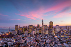 Downtown San Francisco at sunset. Royalty Free Stock Images