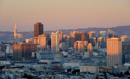 Downtown San Francisco at twilight Royalty Free Stock Images