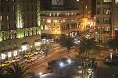 Downtown san francisco union square at night Royalty Free Stock Photo