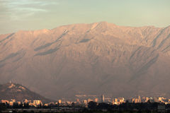 Downtown of Santiago, Chile seen at sunset Stock Photography