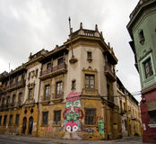 Downtown Santiago city. Exterior of old buildings in downtown Santiago city, Chile Stock Image