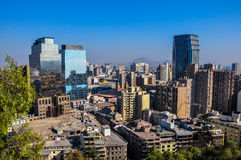 Downtown Santiago, viewed from Cerro Santa Lucia, Chile Stock Images