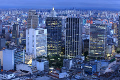 Downtown Sao Paulo. In the night time stock photos