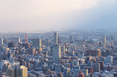 Downtown Sapporo city in Winter Royalty Free Stock Photo