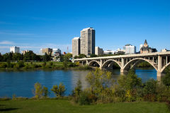 Downtown Saskatoon. Saskatoon is often called the City of Bridges for its seven river crossings (it is also occasionally referred to as The Paris of the Prairies royalty free stock photo