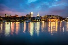 Downtown Savannah , Georgia, along riverfront. At night Stock Image