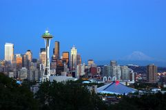 Downtown Seattle. Skyline, with blue sky and mountain in the background royalty free stock photography