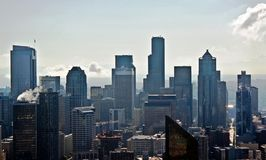 Downtown Seattle. Taken from the observation deck at the Space Needle stock photos