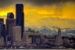 Downtown Seattle and Cascade Mountains Stock Photos