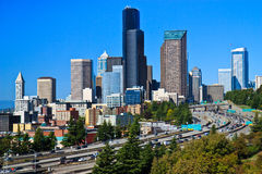 Downtown Seattle city skyline Stock Images