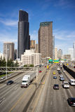 Downtown Seattle City Skyline Interstate 5 Cars Divided Highway Stock Photography