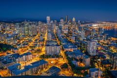 Downtown Seattle cityscape panorama with modern skyscrapers and Royalty Free Stock Photography
