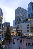 Downtown Seattle with holiday decorations Stock Photos